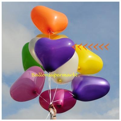 herzluftballon violett groß, 40-45 cm, mit Helium