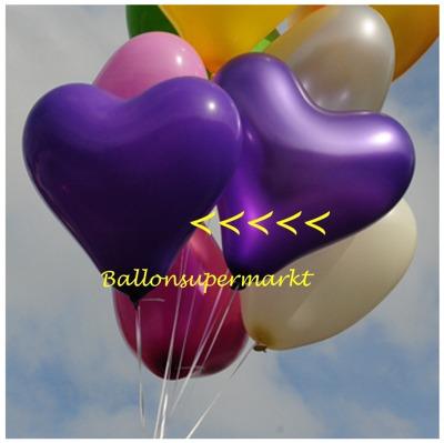 Herzluftballon, 40 bis 45 cm, Violett