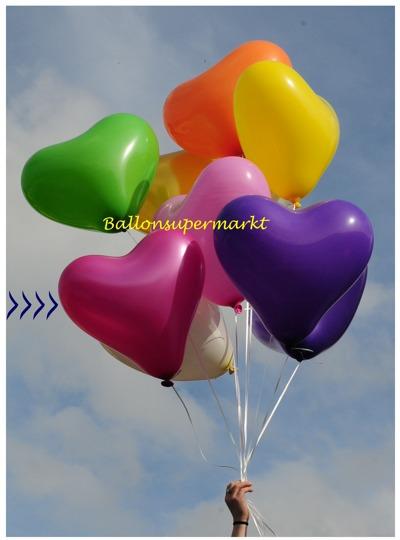 Großer Herzluftballon, Pink Metallic, 40 bis 45 cm, mit Helium