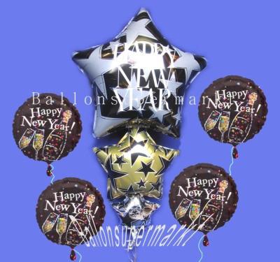 Dekoration zu Silvester, Neujahr mit Luftballons aus Folie
