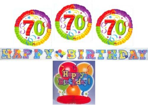 pin dekoration zum 70 geburtstag 3 folienballons happy. Black Bedroom Furniture Sets. Home Design Ideas