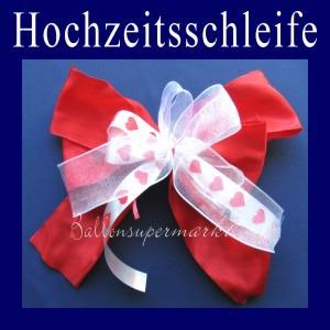Hochzeitsschleife in Rot-Weiss, Dekoration Hochzeit, Zierschleife