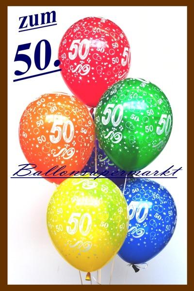Luftballons-Zahl-50-Zahlenballons-Kristall-Ballontraube