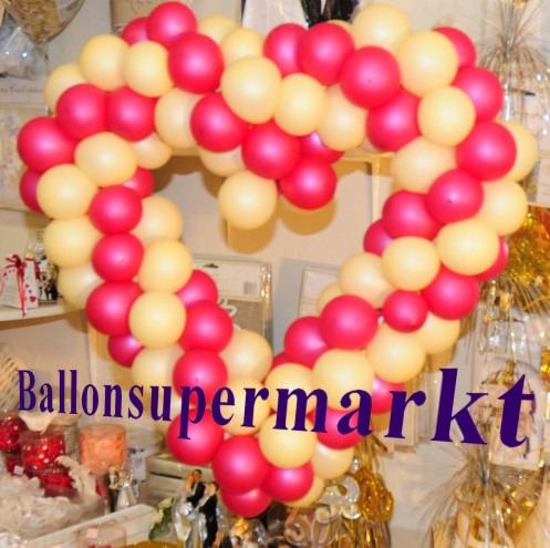 Hochzeitsdeko-Luftballons-Herzdeko-Elfenbein-Fuchsia-65-cm-Hochzeitsherz-Dekoration