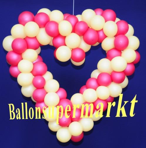 Hochzeitsdeko-Luftballons-Herzdeko-Elfenbein-Fuchsia-65-cm-Hochzeitsherz
