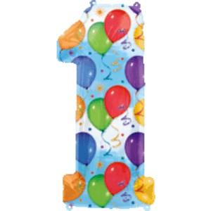Folienballons Jubiläumszahlen und Geburtstagszahlen: Ballon Zahl 1