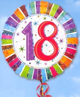 Prismatischer Luftballon aus Folie zum 18. Geburtstag