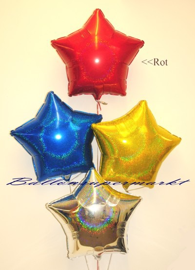Stern-Folien-Luftballons-in-bunten-Farben-mit-Glanzeffekt-Rot