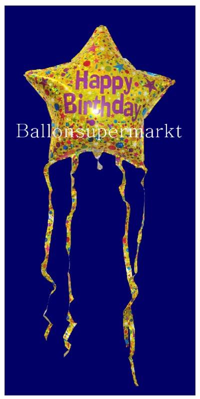 Happy Birthday Star Luftballon aus Folie mit Helium