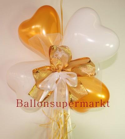 Ballondekoration-Herzballons-mit-Ringelband-und-Zierschleife-in-Weiss-Gold
