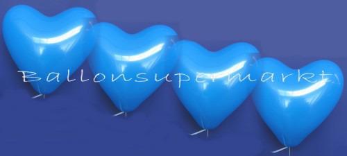 Herzluftballons in Blau