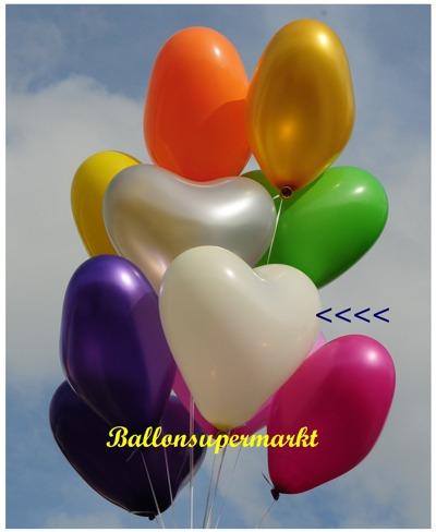 herzluftballon elfenbein, groß, 40-45 cm