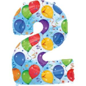 Folienballons Jubiläumszahlen und Geburtstagszahlen: Ballon Zahl 2