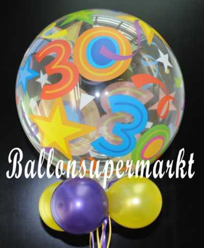 ballonsupermarkt 30 geburtstag bubble luftballon mit helium bubbles. Black Bedroom Furniture Sets. Home Design Ideas
