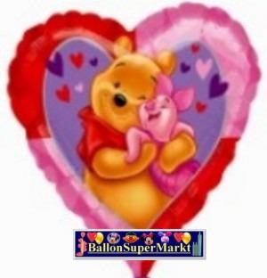 Folienballon Pooh der Bär, Herz