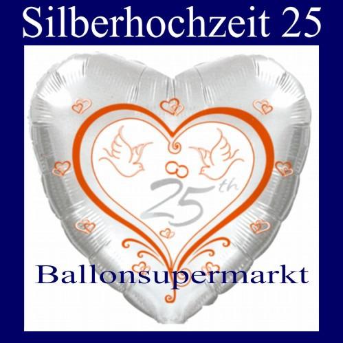 Silberhochzeit-25-Folien-Luftballon
