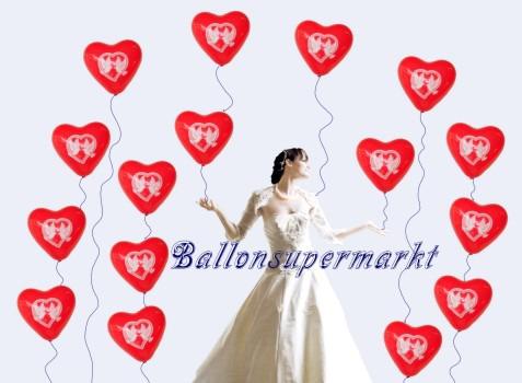 Hochzeit-Braut-mit-Herzluftballons-Hochzeitstauben
