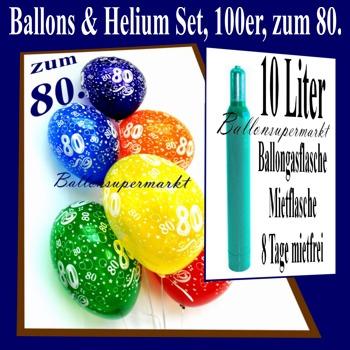 zum 80 geburtstag 100 luftballons mit helium inkl versand und abholung geburtstag 80. Black Bedroom Furniture Sets. Home Design Ideas