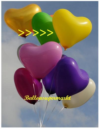 herzluftballon gelb, groß, 40-45 cm, mit Helium