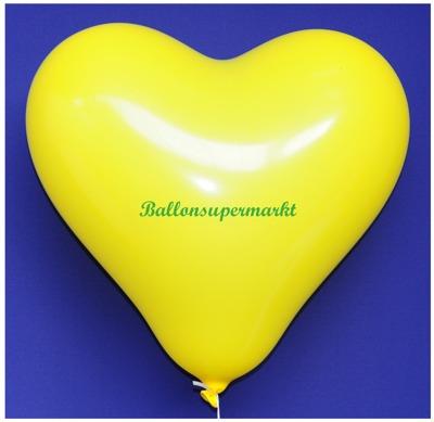Herzluftballon, 40 bis 45 cm, Gelb