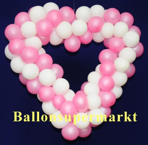 Hochzeitsdeko-Luftballons-Herzdeko-Rosa-Weiss-65-cm-Hochzeitsherz-Dekoration