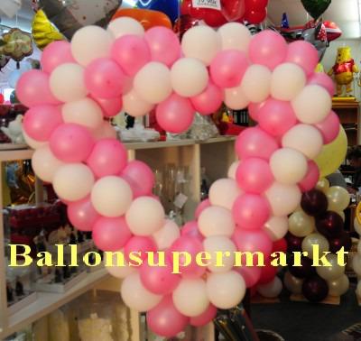 dekoration zur hochzeit herzdekoration aus luftballons in rosa wei ballonsupermarkt. Black Bedroom Furniture Sets. Home Design Ideas
