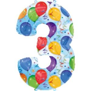 Folienballons Jubiläumszahlen und Geburtstagszahlen: Ballon Zahl 3