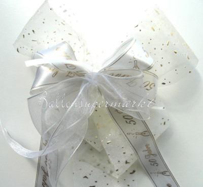 Zierschleife Goldene Hochzeit, Dekoration, Tischdekoration Hochzeit mit Hochzeitsschleifen