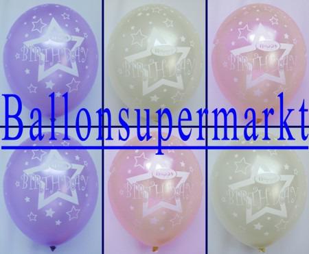Luftballons-1.-Geburtstag-Lila-Pink-Elfenbein