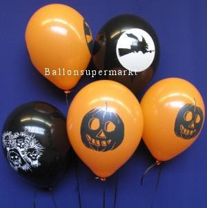 Luftballons Halloween Hexenflug und Kürbis-Monster
