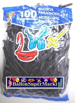 Modellierballons, Luftballons zum Modellieren, schwarz-100 Stück