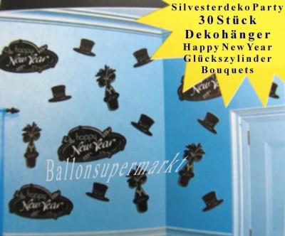 Silvesterdekoration zur Silvesterparty mit hängenden Cutouts