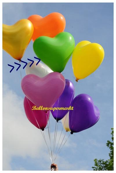 herzluftballon grün, groß, 40-45 cm, mit Helium