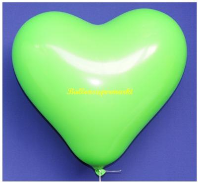 Herzluftballon, 40 bis 45 cm, Grün