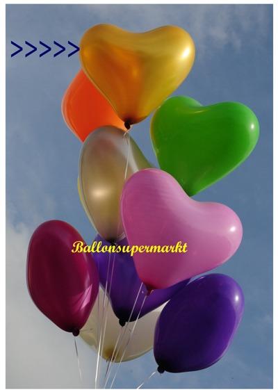 herzluftballon gold, groß, 40-45 cm, mit Helium