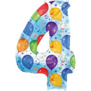 Folienballons Jubiläumszahlen und Geburtstagszahlen: Ballon Zahl 4