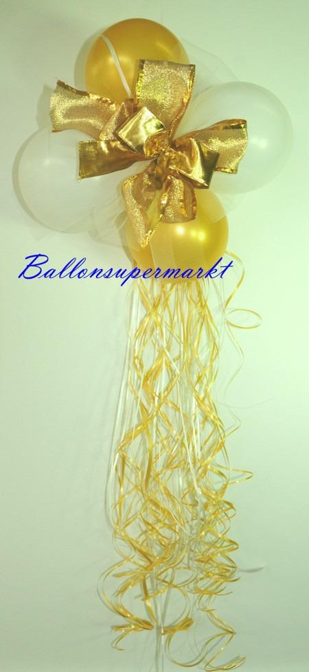 Mini-Luftballons-Dekoration-mit-Zierschleife-Hochzeit-Liebe-Gold-Weiss
