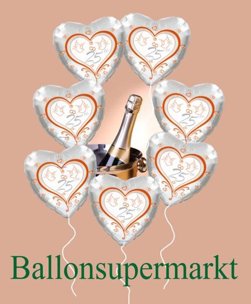 Luftballons-aus-Folie-Silberhochzeit-Dekoration-mit-Helium