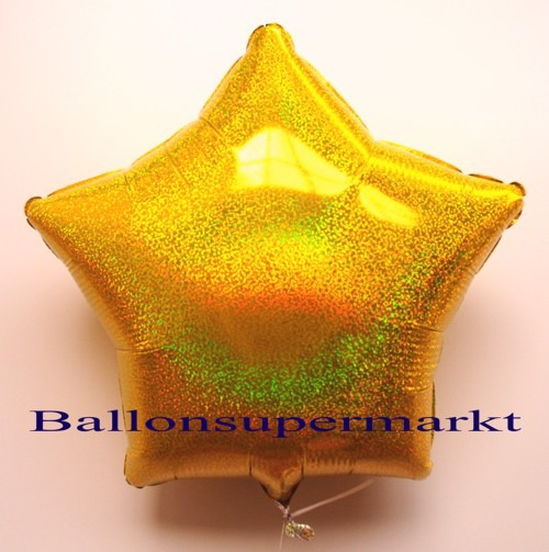 Luftballon-Folie-Stern-Gold-Holo-Glanz