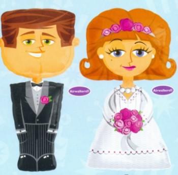 Hochzeit Folienballons Airwalker, Braut und Bräutigam