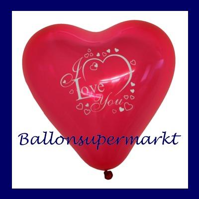 Herzluftballon mit Motiv, I Love You, bedruckter Luftballon in Herzform