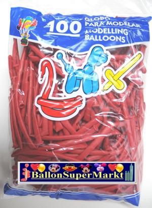 Modellierballons, Luftballons zum Modellieren, kristall-rot-100 Stück