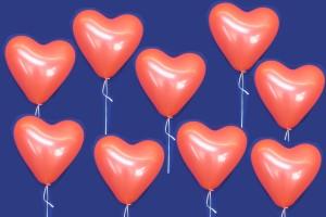 Ballons und Helium Hochzeit: 700 rote Herzluftballons mit Helium Ballongas