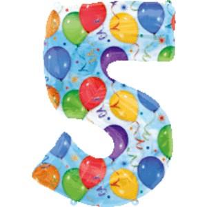 Folienballons Jubiläumszahlen und Geburtstagszahlen: Ballon Zahl 5