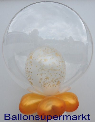 Hochzeitsballon-Bubble-Just-Married-Gold