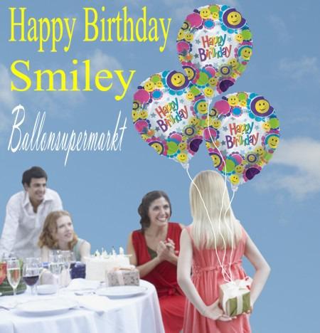 Glückwünsche zum Geburtstag mit Smiley Luftballons