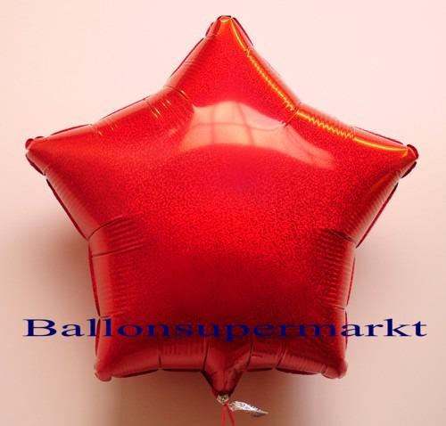 Luftballon-Folie-Stern-Rot-Holo-Glanz