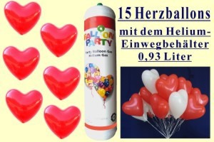 Herzballons mit der Mini- Heliumflasche