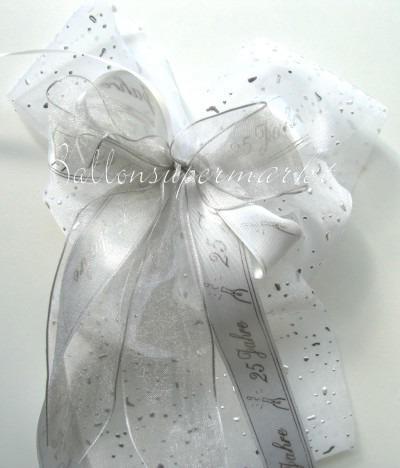 Zierschleife Silberhochzeit, Dekoration, Tischdekoration Hochzeit mit Hochzeitsschleifen