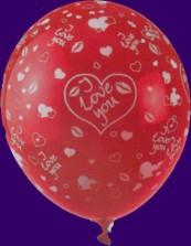 Luftballon der Liebe, roter Latexballon mit weißen Herzen und dem Aufdruck I Love You